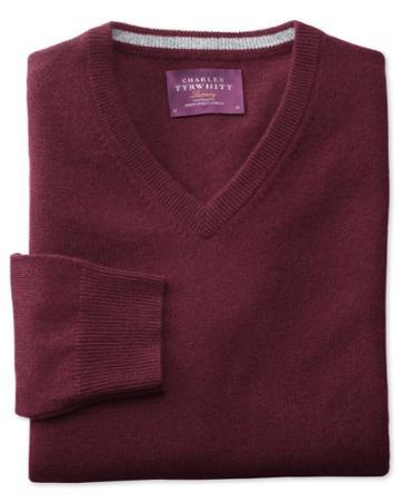 Charles Tyrwhitt Wine Cashmere V-neck Sweater Size Large By Charles Tyrwhitt