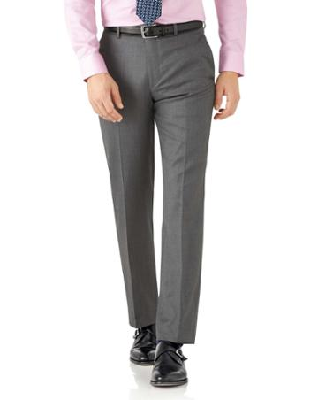 Charles Tyrwhitt Grey Classic Fit Italian Suit Wool Pants Size W32 L30 By Charles Tyrwhitt