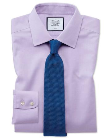 Classic Fit Non-iron Lilac Triangle Weave Cotton Dress Shirt Single Cuff Size 15/33 By Charles Tyrwhitt