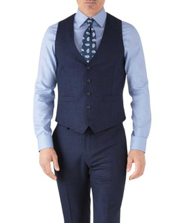 Charles Tyrwhitt Royal Blue Adjustable Fit Flannel Business Suit Wool Vest Size W36 By Charles Tyrwhitt