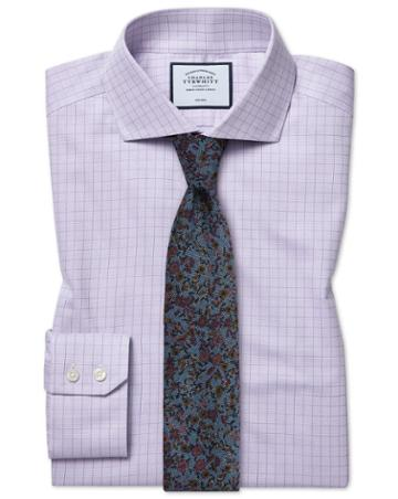 Extra Slim Fit Cutaway Collar Non-iron Soft Twill Lilac Check Cotton Dress Shirt Single Cuff Size 14.5/32 By Charles Tyrwhitt