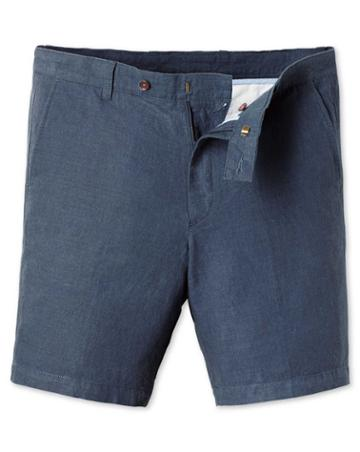 Airforce Blue Cotton Linen Shorts Size 30 By Charles Tyrwhitt