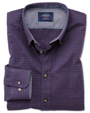 Charles Tyrwhitt Slim Fit Button-down Soft Cotton Navy Blue And Berry Check Casual Shirt Single Cuff Size Large By Charles Tyrwhitt