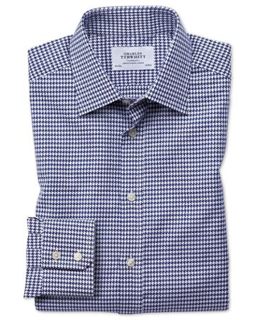 Charles Tyrwhitt Slim Fit Large Puppytooth Blue Cotton Dress Casual Shirt Single Cuff Size 14.5/33 By Charles Tyrwhitt