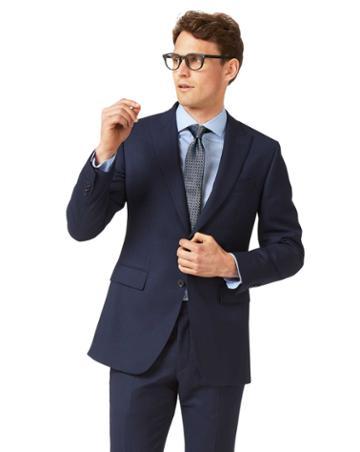 Ink Blue Slim Fit Birdseye Peak Lapel Travel Suit Wool Jacket Size 36 By Charles Tyrwhitt