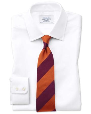 Extra Slim Fit Egyptian Cotton Royal Oxford White Dress Shirt Single Cuff Size 16/34 By Charles Tyrwhitt