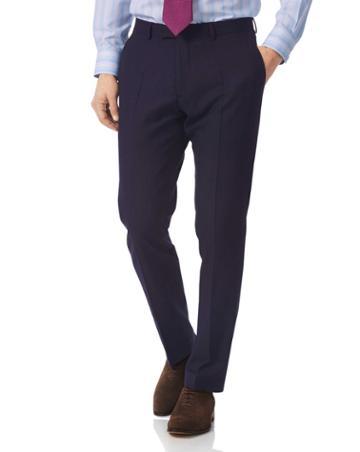 Navy Slim Fit British Luxury Suit Wool Pants Size W30 L38 By Charles Tyrwhitt