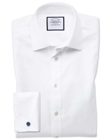 Charles Tyrwhitt Extra Slim Fit Non-iron Step Weave White Cotton Dress Shirt Single Cuff Size 14.5/32 By Charles Tyrwhitt