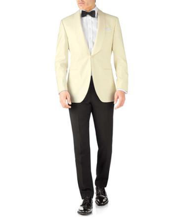 Cream Slim Fit Shawl Collar Tuxedo Wool Jacket Size 38 By Charles Tyrwhitt