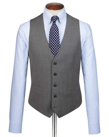 Grey Slim Fit Birdseye Travel Suit Wool Vest Size W36 By Charles Tyrwhitt