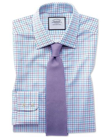 Classic Fit Egyptian Cotton Poplin Check Purple And Aqua Dress Shirt Single Cuff Size 15.5/34 By Charles Tyrwhitt