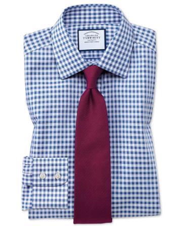 Charles Tyrwhitt Slim Fit Non-iron Gingham Mid Blue Cotton Dress Shirt Single Cuff Size 15/33 By Charles Tyrwhitt