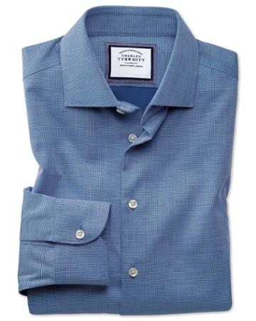 Charles Tyrwhitt Classic Fit Semi-spread Collar Business Casual Non-iron Royal Blue Honeycomb Cotton Dress Shirt Single Cuff Size 15/33 By Charles Tyrwhitt