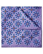 Lilac Geometric Floral Print Silk Pocket Square By Charles Tyrwhitt