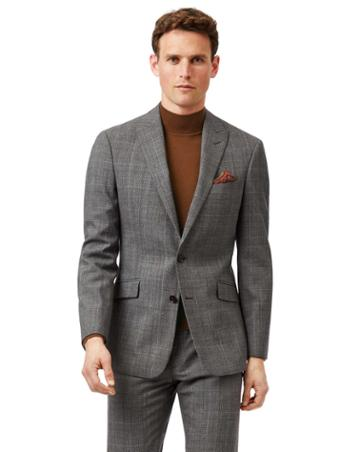 Grey With Tan Prince Of Wales Check Slim Fit Suit Wool Jacket Size 36 By Charles Tyrwhitt