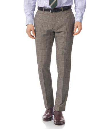 Grey Slim Fit British Prince Of Wales Check Luxury Suit Wool Pants Size W30 L38 By Charles Tyrwhitt