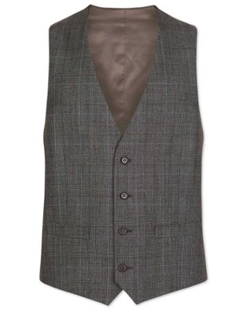 Grey With Tan Prince Of Wales Check Adjustable Fit Wool Vest Size W36 By Charles Tyrwhitt