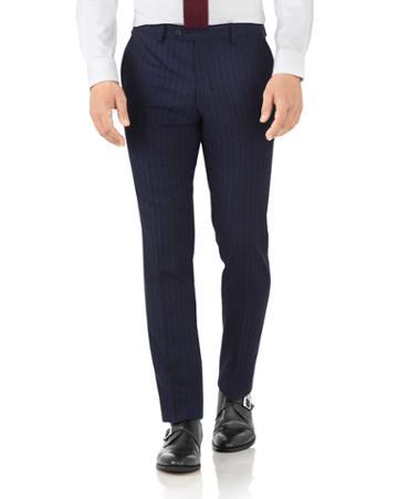 Charles Tyrwhitt Navy Stripe Slim Fit Flannel Business Suit Wool Pants Size W30 L38 By Charles Tyrwhitt