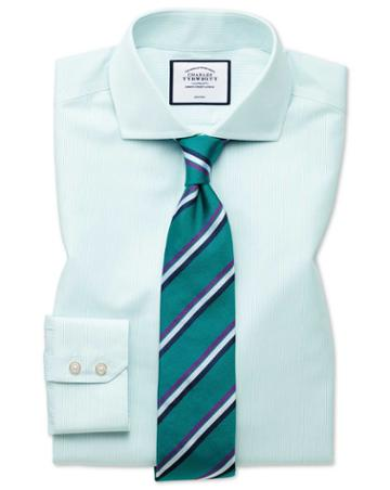 Classic Fit Non-iron Tyrwhitt Cool Poplin Aqua Cotton Dress Shirt Single Cuff Size 15.5/34 By Charles Tyrwhitt