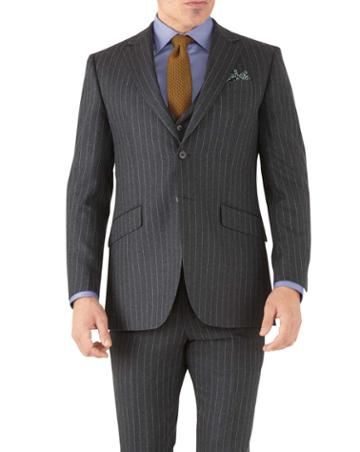 Charles Tyrwhitt Charcoal Stripe Slim Fit Flannel Business Suit Wool Jacket Size 36 By Charles Tyrwhitt