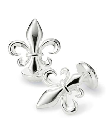 Fleur-de-lys Silver Plated Cufflinks By Charles Tyrwhitt