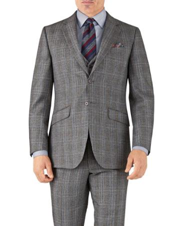 Charles Tyrwhitt Silver Prince Of Wales Slim Fit Flannel Business Suit Wool Jacket Size 36 By Charles Tyrwhitt
