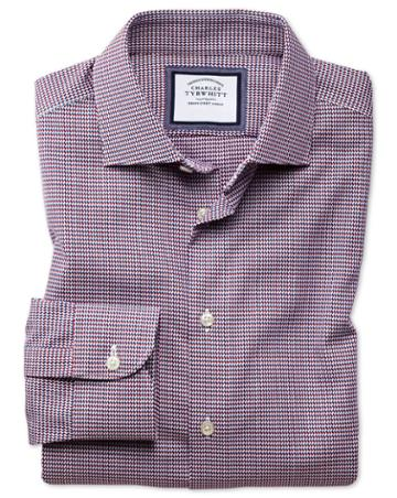 Charles Tyrwhitt Slim Fit Semi-spread Collar Business Casual Non-iron Red Multi Dogtooth Cotton Dress Shirt Single Cuff Size 14.5/32 By Charles Tyrwhitt