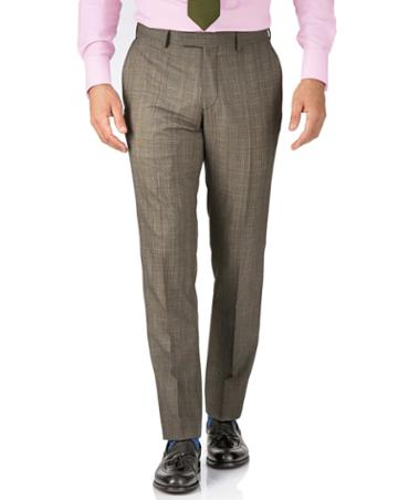 Charles Tyrwhitt Beige Slim Fit British Panama Luxury Check Suit Wool Pants Size W34 L38 By Charles Tyrwhitt