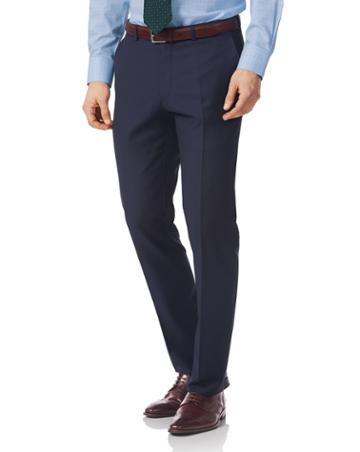 Navy Slim Fit Twill Italian Luxury Suit Trouser Size W30 L38 By Charles Tyrwhitt