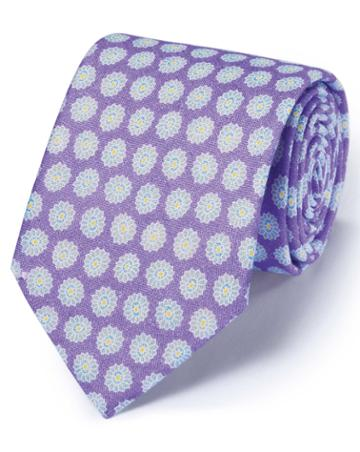 Charles Tyrwhitt Lilac Linen English Luxury Floral Tie By Charles Tyrwhitt