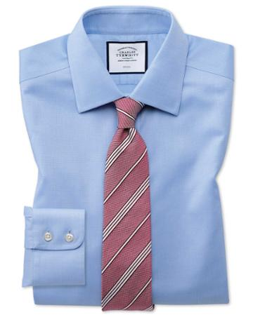 Classic Fit Non-iron Sky Blue Triangle Weave Cotton Dress Shirt Single Cuff Size 15/35 By Charles Tyrwhitt