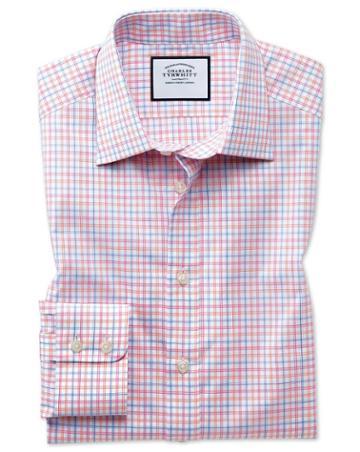 Slim Fit Egyptian Cotton Poplin Pink Multi Check Dress Shirt Single Cuff Size 14.5/33 By Charles Tyrwhitt