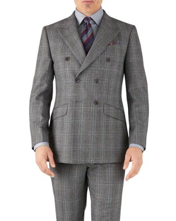 Charles Tyrwhitt Silver Prince Of Wales Slim Fit Flannel Double Breasted Business Suit Wool Jacket Size 36 By Charles Tyrwhitt