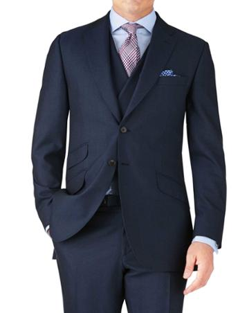 Charles Tyrwhitt Blue Classic Fit British Panama Luxury Suit Wool Jacket Size 38 By Charles Tyrwhitt