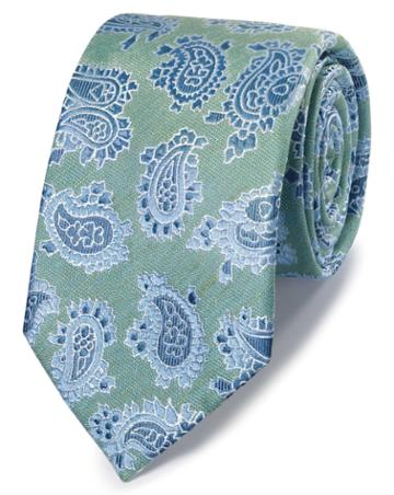 Green Linen Silk Paisley Classic Tie By Charles Tyrwhitt