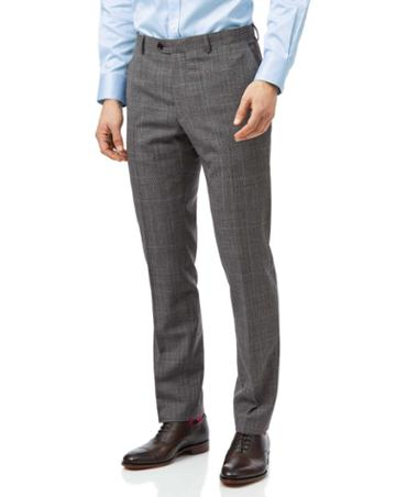 Grey With Tan Prince Of Wales Check Slim Fit Suit Trouser Size W30 L30 By Charles Tyrwhitt