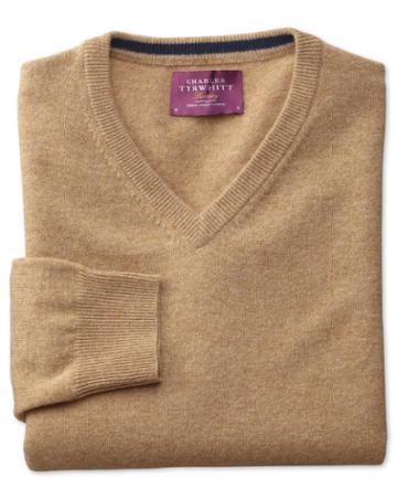 Charles Tyrwhitt Tan Cashmere V-neck Sweater Size Large By Charles Tyrwhitt