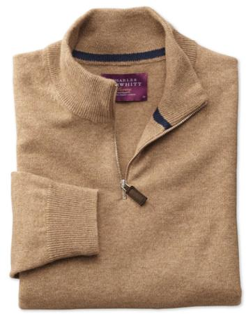 Charles Tyrwhitt Tan Cashmere Zip Neck Sweater Size Large By Charles Tyrwhitt