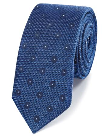Royal Blue Linen Silk Spot Slim Tie By Charles Tyrwhitt