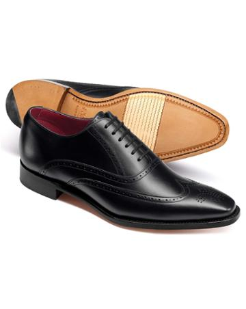 Black Made In England Oxford Brogue Flex Sole Shoes Size 11.5 By Charles Tyrwhitt