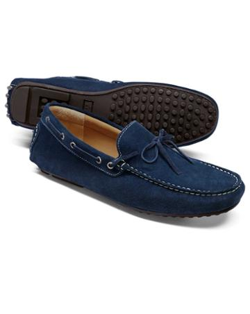 Blue Suede Driving Loafer Size 11 By Charles Tyrwhitt
