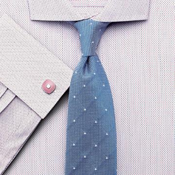 Charles Tyrwhitt Slim Fit Spread Collar Egyptian Cotton Two Color Texture Pink Dress Shirt French Cuff Size 17.5/36 By Charles Tyrwhitt