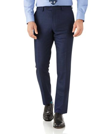 Charles Tyrwhitt Royal Blue Slim Fit Flannel Business Suit Wool Pants Size W30 L38 By Charles Tyrwhitt