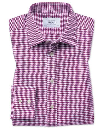 Charles Tyrwhitt Classic Fit Large Puppytooth Berry Cotton Dress Casual Shirt Single Cuff Size 15.5/33 By Charles Tyrwhitt