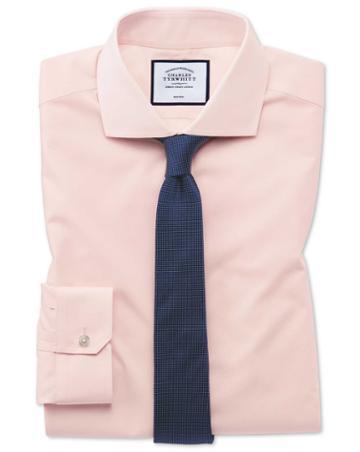 Super Slim Fit Non-iron Tyrwhitt Cool Poplin Peach Cotton Dress Shirt Single Cuff Size 14.5/32 By Charles Tyrwhitt