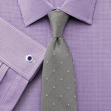 Charles Tyrwhitt Classic Fit Egyptian Cotton Puppytooth Purple Dress Shirt Single Cuff Size 15/35 By Charles Tyrwhitt