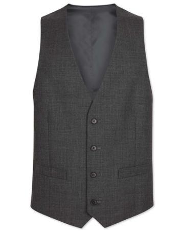 Grey Adjustable Fit Merino Business Suit Merino Wool Waistcoat Size W38 By Charles Tyrwhitt