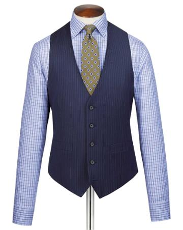 Blue Adjustable Fit Twill Stripe Business Suit Wool Vest Size W36 By Charles Tyrwhitt