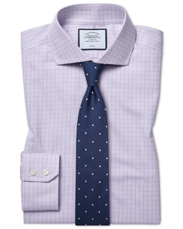 Slim Fit Cutaway Collar Non-iron Soft Twill Lilac Check Cotton Dress Shirt Single Cuff Size 14.5/33 By Charles Tyrwhitt