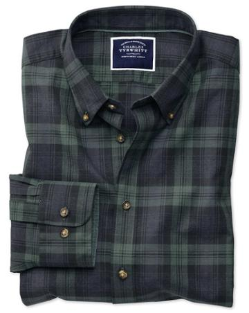 Extra Slim Fit Navy And Green Check Herringbone Melange Cotton Casual Shirt Single Cuff Size Small By Charles Tyrwhitt